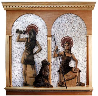 """Atemis Redux Charcoal on plywood, white and copper BB pellets, pen nib, hand built wooden altar : 38""""W 40""""H"""
