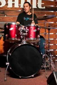 Drummer of Big Water Beat, Desmond Sandy, playing at Shine in Sacramento CA. 2015. Photo Emma Montalbano.