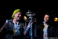 2015 Bowling Champions accept their trophy and metals on stage for the 17th Annual Punk Rock Bowling Tournament. Photo Melissa Uroff.