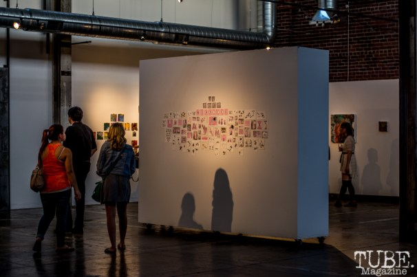 """Beatnik Studios opening reception of """"Some Kind of Accident"""" July 10, 2015, downtown Sacramento CA. Artwork featured by Jeff Mayry. Photo Sarah Elliott"""