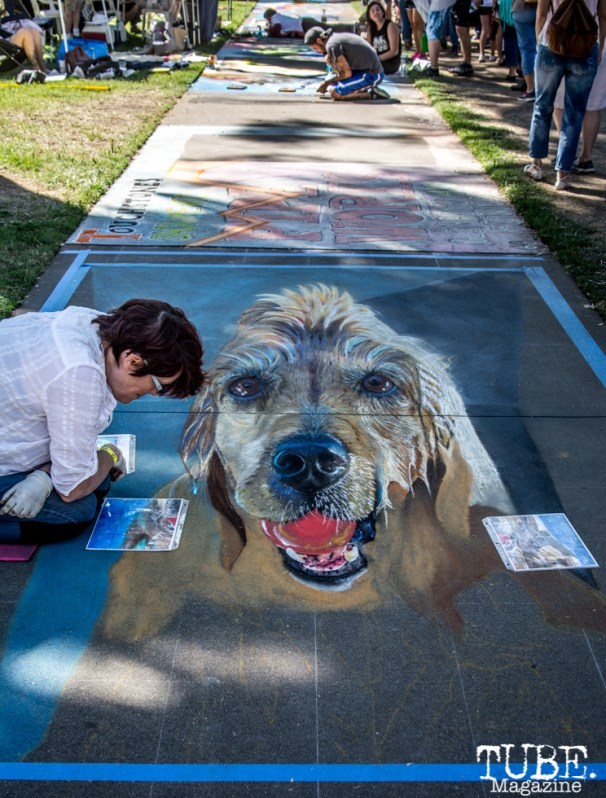 Artist Andrea Johnston, Chalk It Up, Sacramento 2015, Photo Sarah Elliott