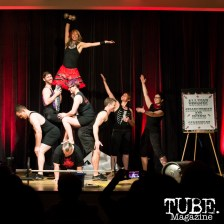 Strongwoman Allyson and Friends Sideshow performing amazing feats of strength at ArtMix Vaudeville at the Crocker in Sacramento, Ca. March 2016. Photo Alejandro Montaño