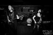 Guitarist/vocalist Allison Jones, Bassist Vocalist Derek Fieth, and drummer name unk of Pets, Pets CD Release show, Hideaway, 8/20/16. Photo: Charles Gunn