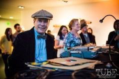 Cactus Pete spinning records, Vintage Swank ArtMix, Crocker Art Museum, March 2017. Photo Melissa Uroff