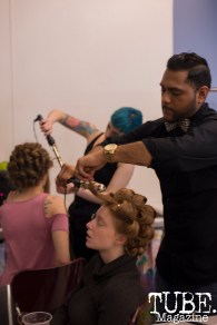 Behind the scenes of the fashion show at Vintage Swank ArtMix, Crocker Art Museum, March 2017. Photo Emma Montalbano