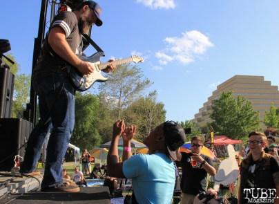 Guitarist Gabriel Levan Aiello of Drop Dead Red, First Festival, River Walk, Sacramento, CA. May 2017. Photo Anouk Nexus
