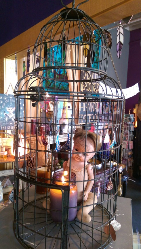 Creeptastic decor in a fabulous jewelry and candle shop