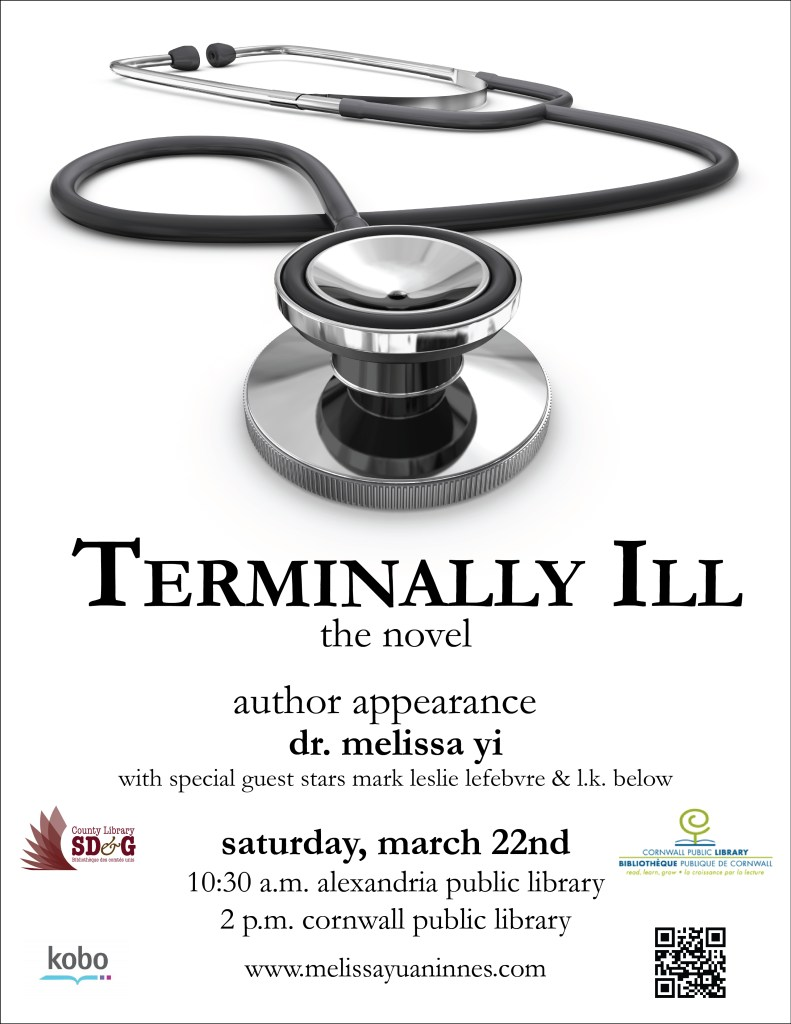 terminally ill book launch poster with SDG & cornwall logos & kobo