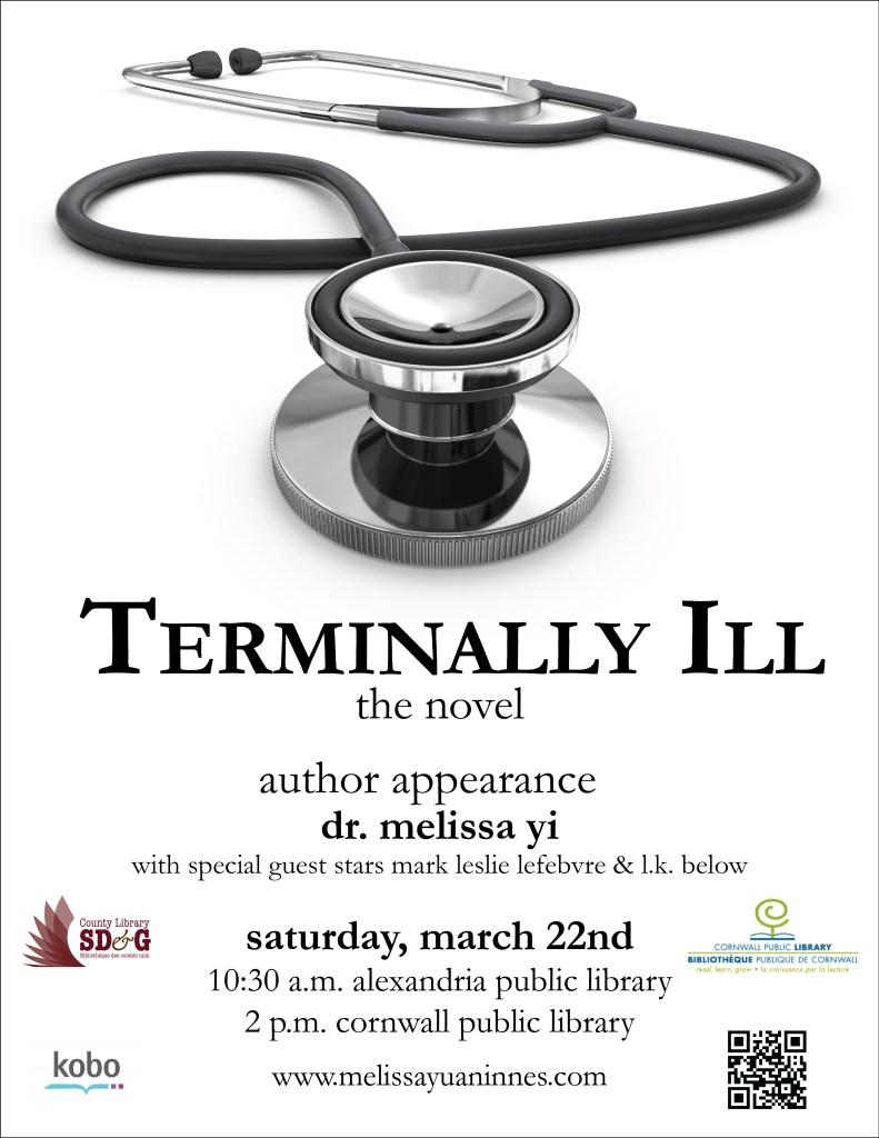 terminally ill book launch poster with SDG & cornwall logos & kobo