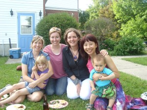 Motherhood unite! Iris, Carolyn, Julie & me with two of our offspring.