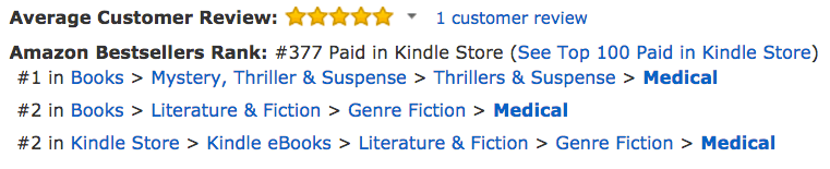 Hi Amazon Thanks For Getting Me To 1 In Medical Thrillers
