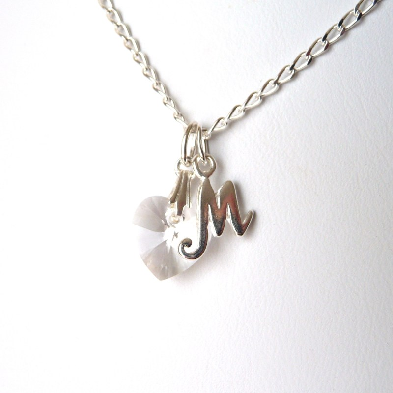 april birthstone initial charm necklace