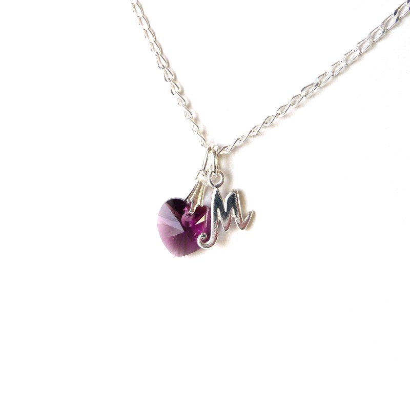 February birthstone necklace amethyst birthstone initial necklace
