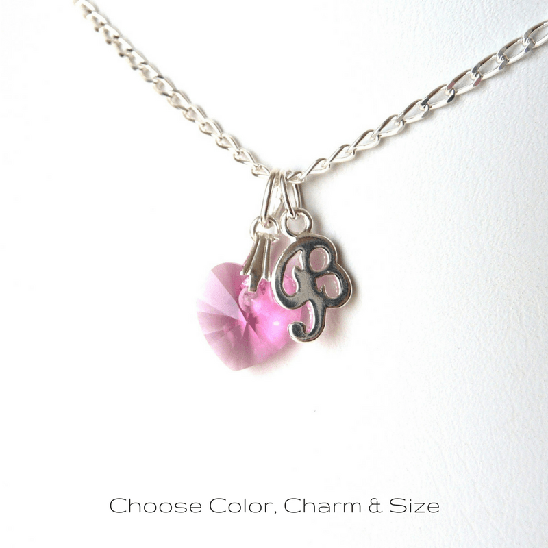 personalized birthstone initial necklace