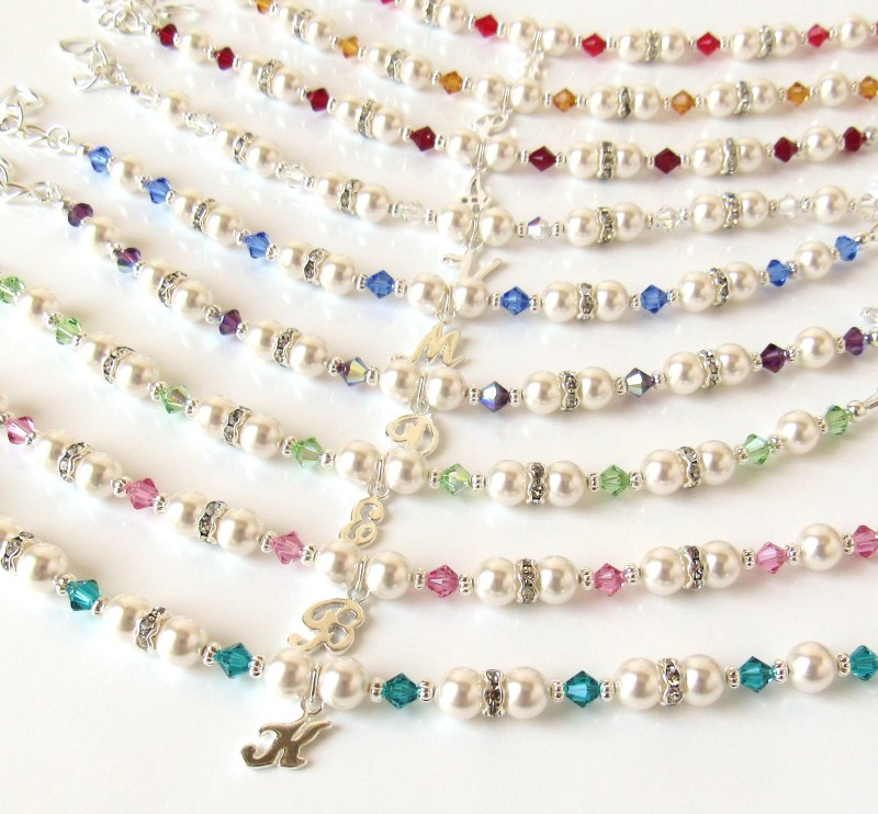 Personalized birthstone initial Bracelets