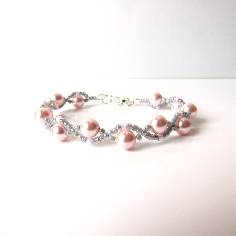 girls pink and gray bracelet