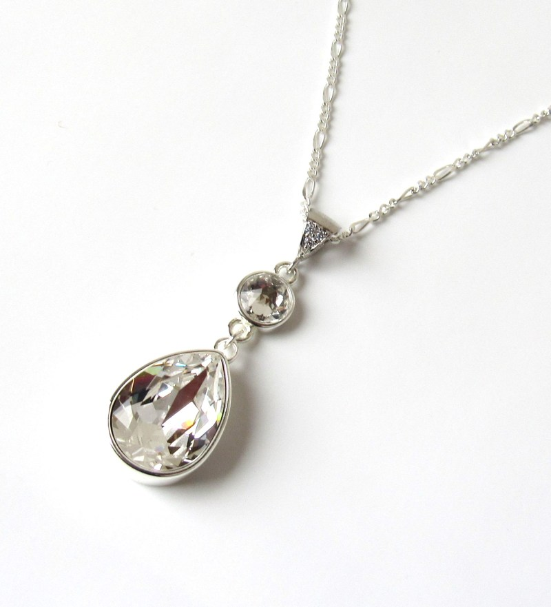 pearl shaped crystal necklace