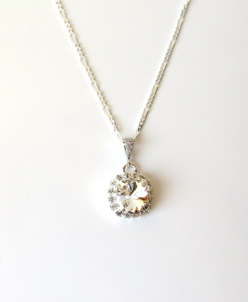 girls rhinestone pendant necklace sterling silver