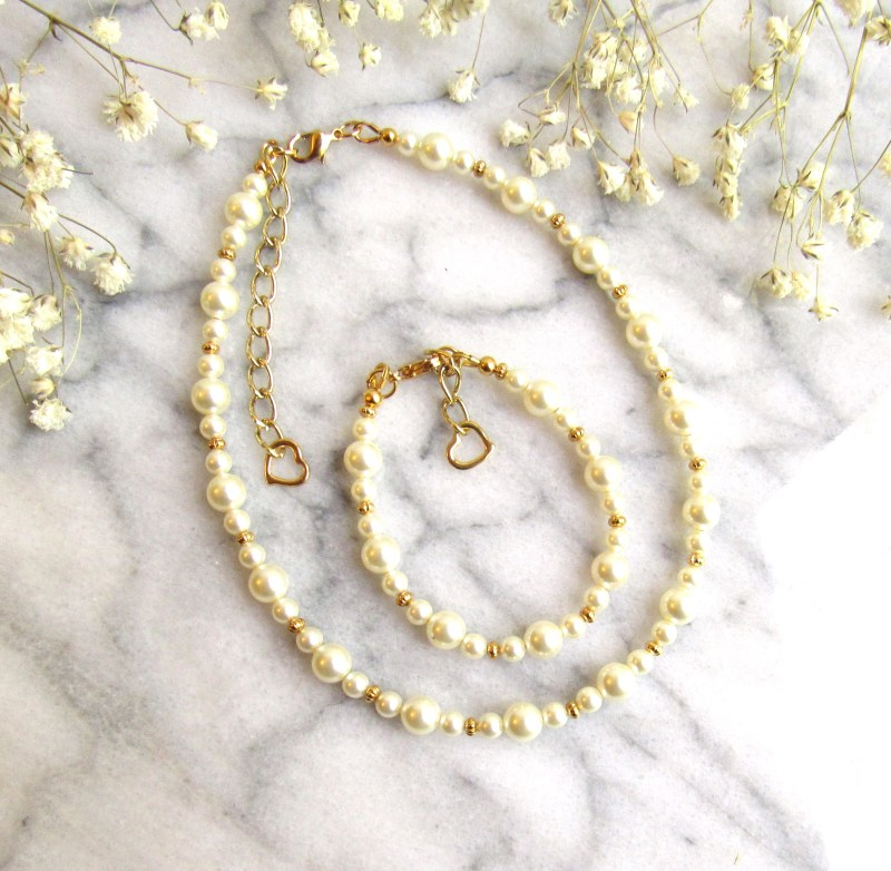 girls pearl and gold jewelry set