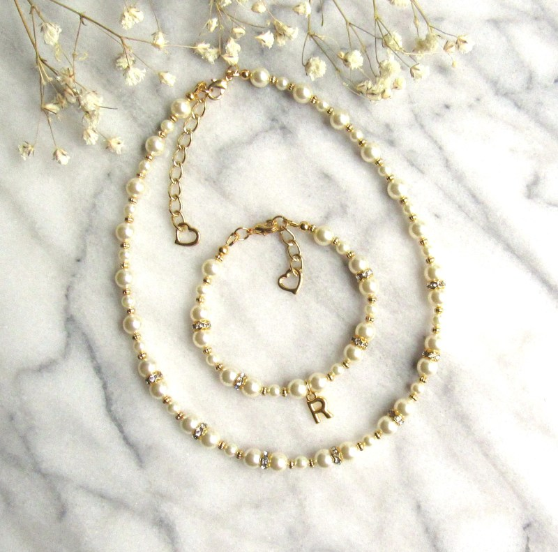 personalized pearl and gold jewelry set for girls