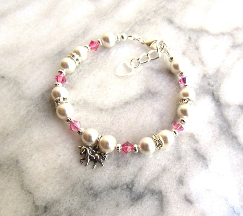 _girls birthstone bracelet with unicorn charm