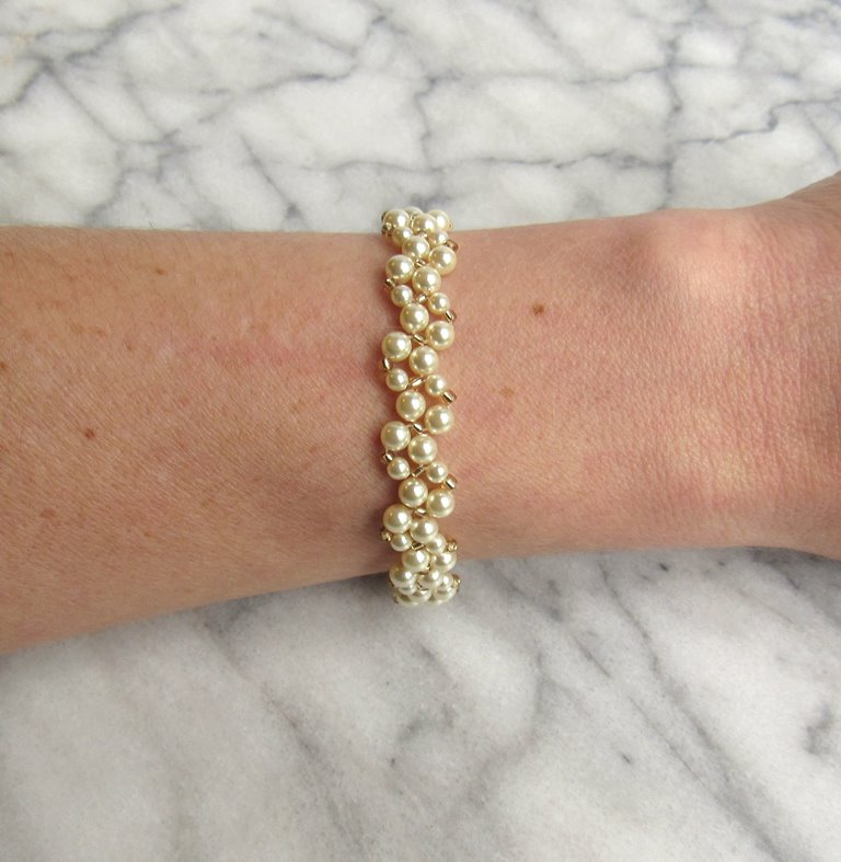 -pearl and gold beaded vine bracelet