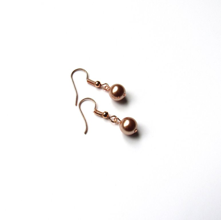 WE18-Rose gold pearl dangle earrings