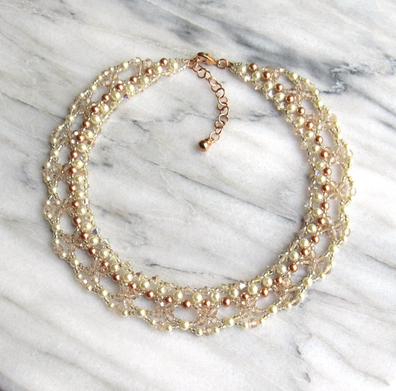 WN27-champagne and rose gold statement choker necklace