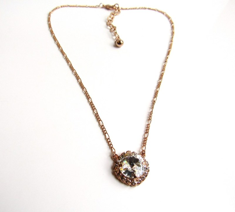 WN29-rose gold solitaire crystal necklace