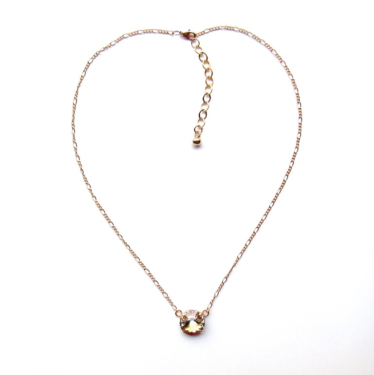 -rose gold single stone necklace