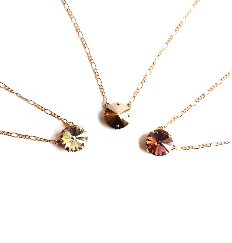 -rose gold single stone necklace