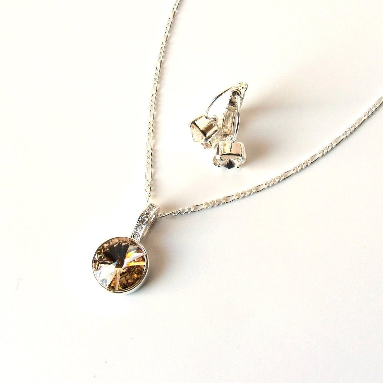 WS13-Champagne crystal necklace and earring set