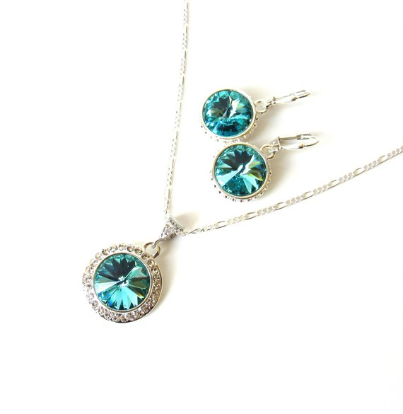 WS22-Swarovski Turquoise Crystal Necklace & Earring Set Silver