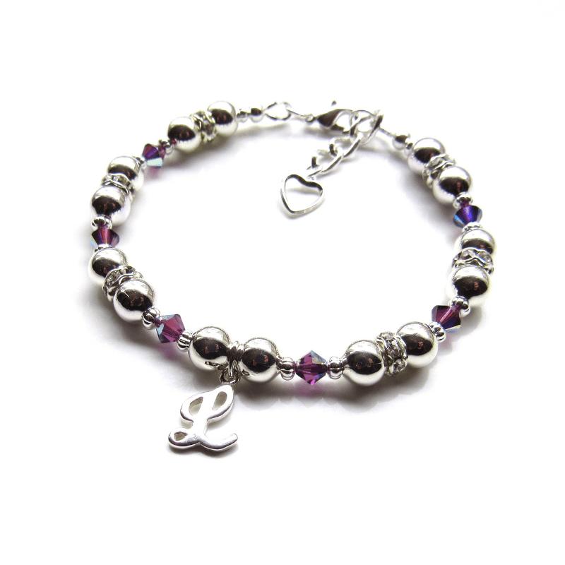 girls birthstone bracelet silver initial bracelet for girls