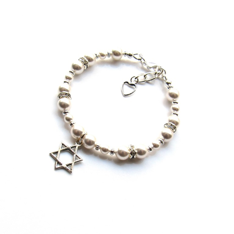 PB21-GIRLS PEARL BRACELET WITH STAR OF DAVID CHARM
