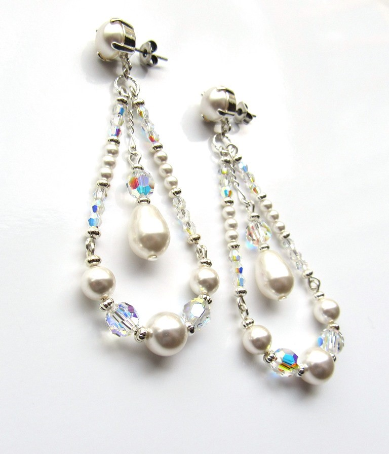Statement pearl earrings dangle long