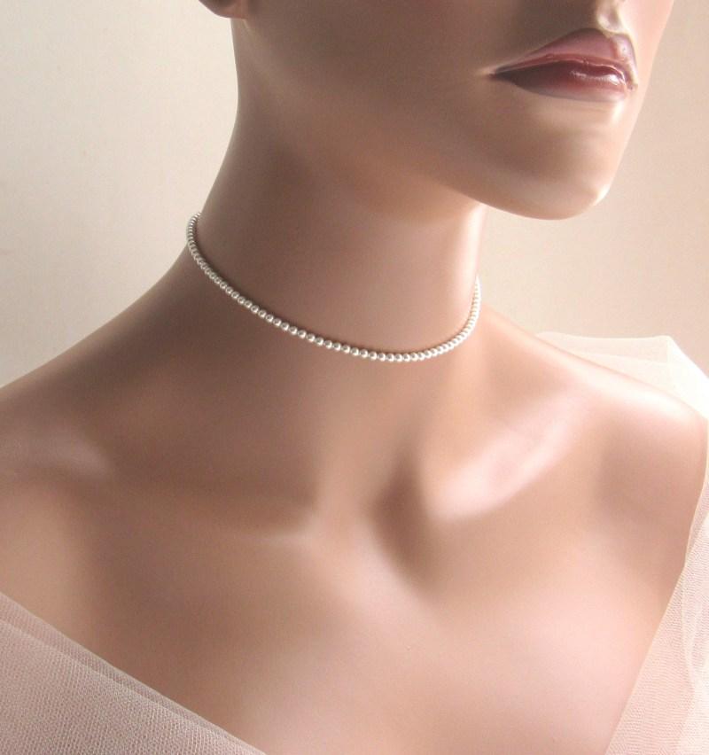 dainty pearl choker beaded single strand seed pearl necklace
