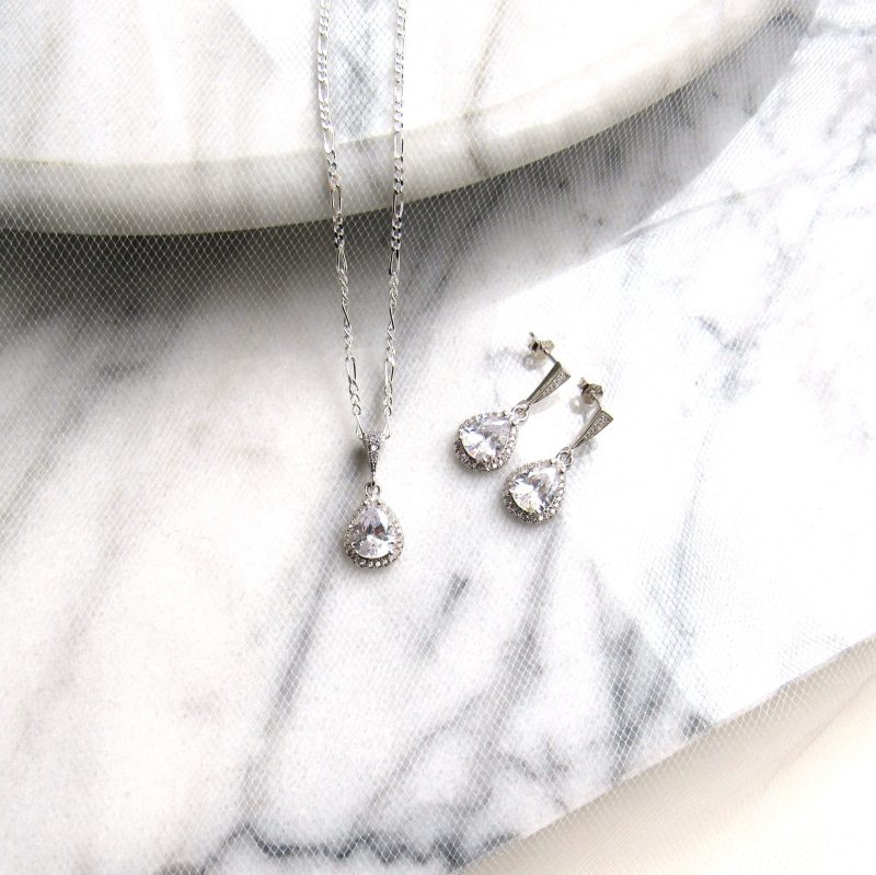 teardrop cz earrings and necklace sterling silver