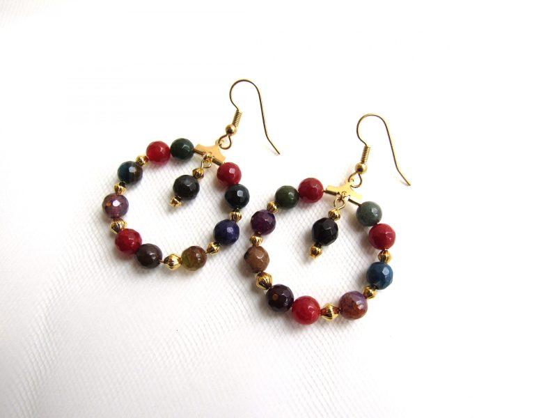 boho gold hoop beaded earrings