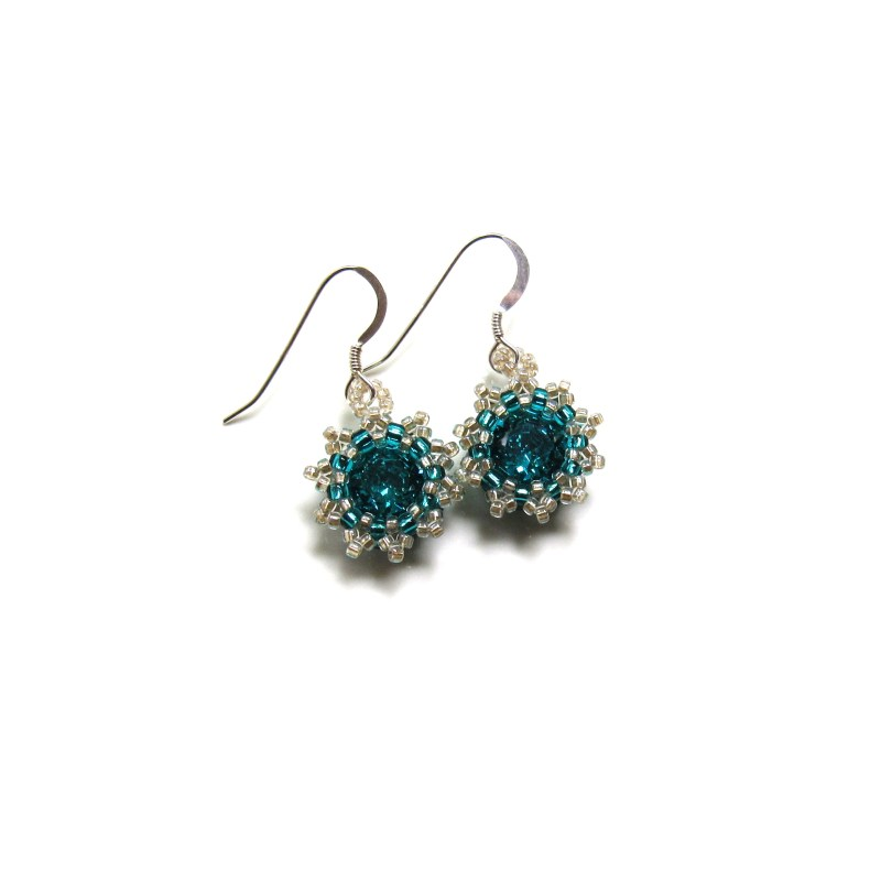 turquoise swarovski crystal flower earrings