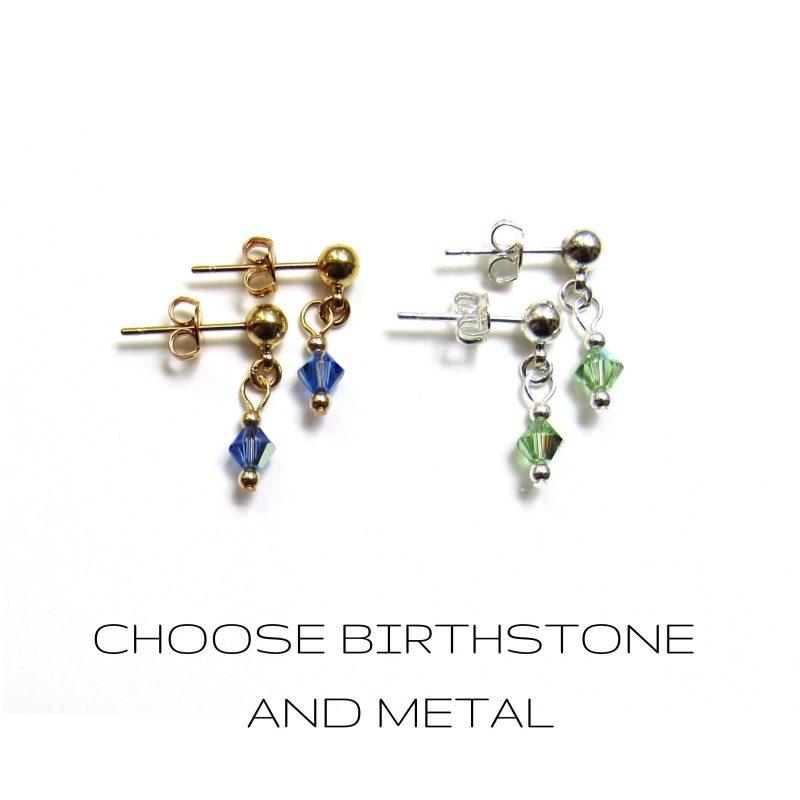Tiny birthstone earrings for girls