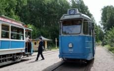 SS A27 500 och US 10, vid Östersjön, utväxling av tågstav Spårvägsmuseet Malmköping