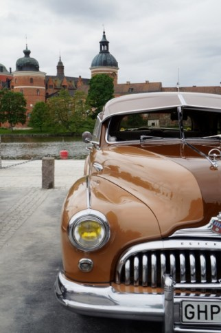 Ångans dag 2017, veteranbilar utställda i Mariefred, Gripsholms slott
