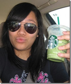 Mellie Dee with a Green Tea Frappachino
