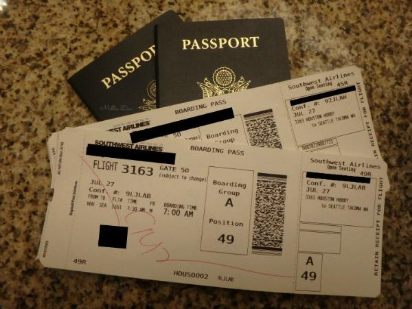 Houston to Seattle Boarding Passes & Passports