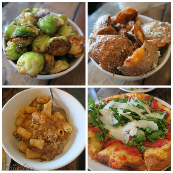Coltivare Pizza & Garden | Houston, Texas | Roasted Brussels Sprouts, Crispy Potatoes, Rigatoni Bolognese, Revival Pizza