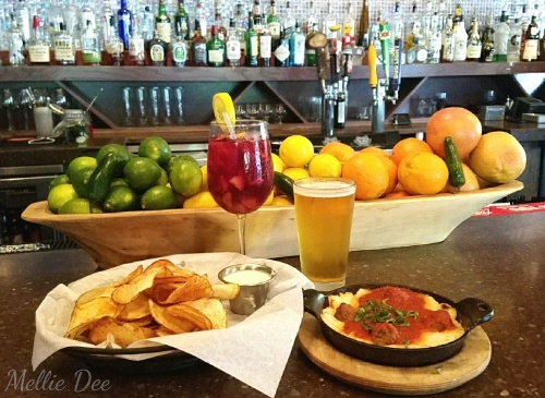 Next Door Lounge | Houston, Texas | Red Sangria, Beer, Housemade Potato Chips with Jalapeño Feta Dip, and Housemade Angus Mini Meatballs