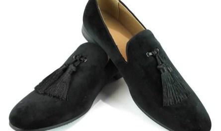 Black Velvet Slip On Loafers Tassel Men's Dress Shoes Modern Formal  By AZAR MAN