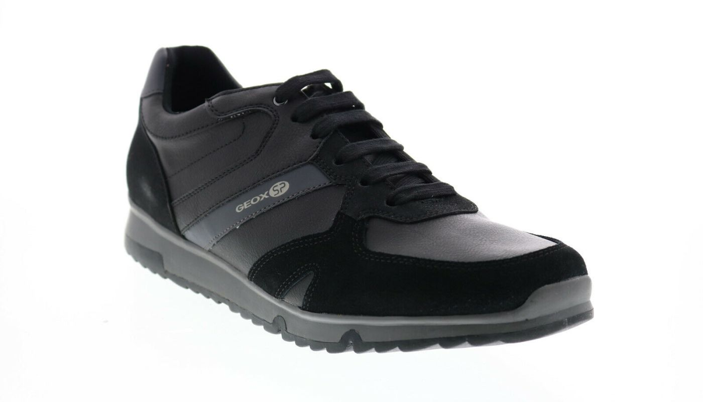Geox U Wilmer B Mens Black Leather Lace Up Euro Sneakers Shoes