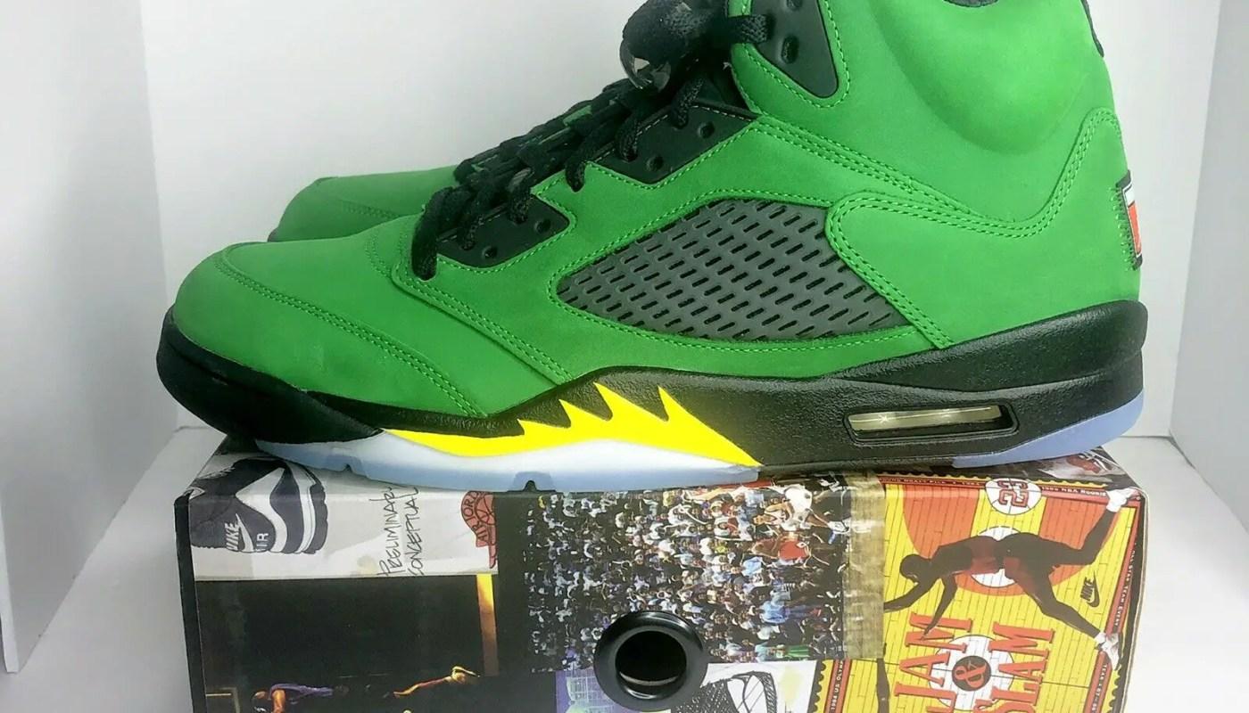 Jordan 5 Retro SE Oregon Shoes Men's Size 13 Green Apple CK6631-307